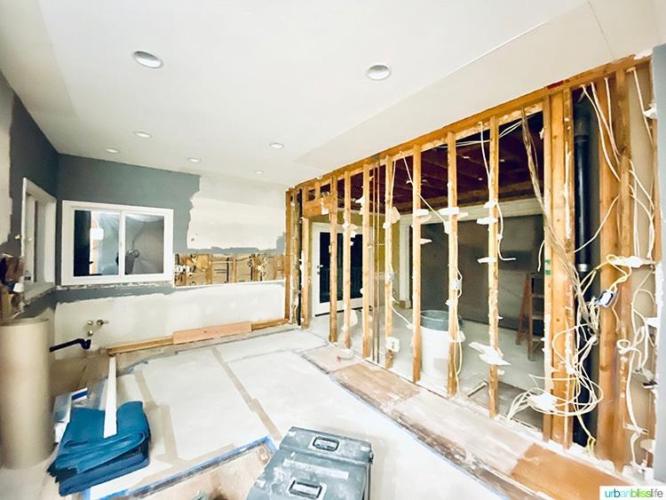 kitchen remodel week one walls down
