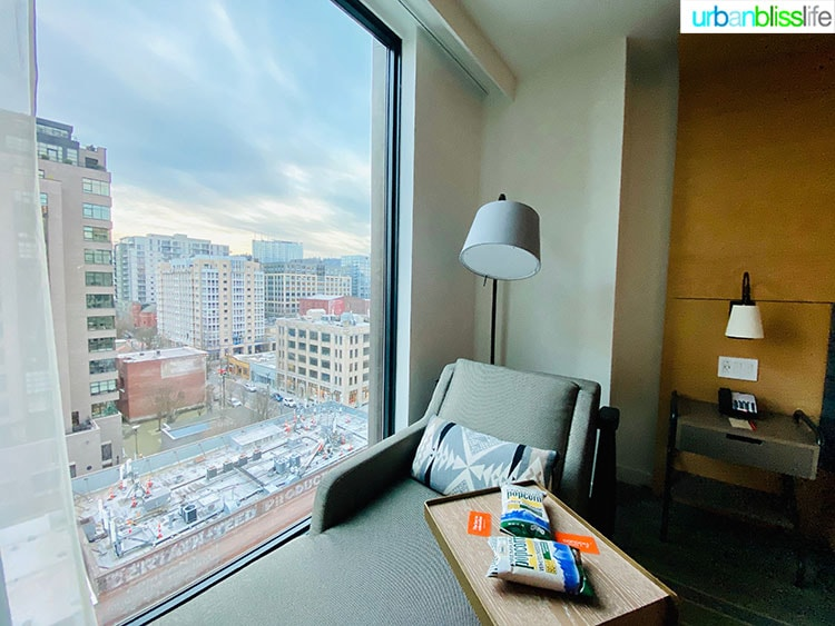 window seat view in guestroom of Canopy Hilton, a Pearl District Portland Hotel