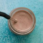 overhead photo of chocolate Post Workout Protein Shake