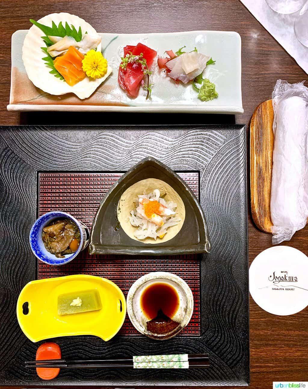 traditional Japanese dinner at Hotel Jogakura