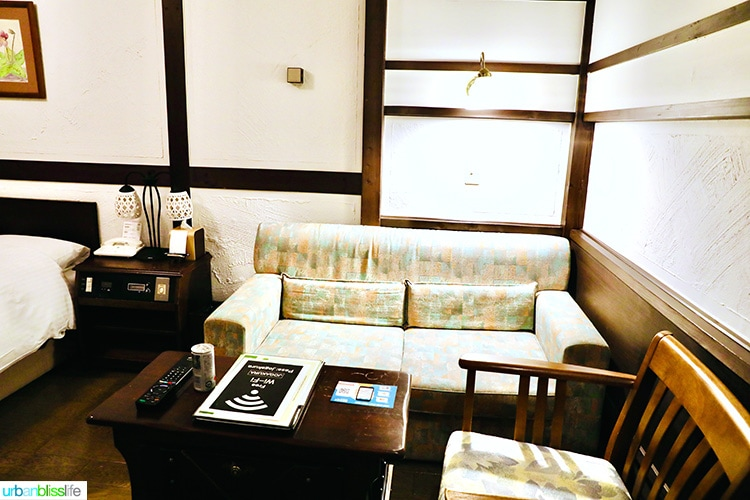 sitting area of guestroom in Hotel Jogakura