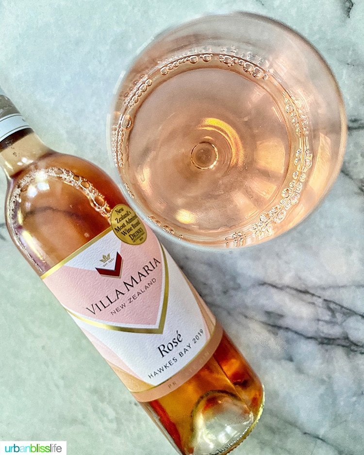 Villa Maria 2019 Hawkes Bay Rosé wine bottle and in a glass