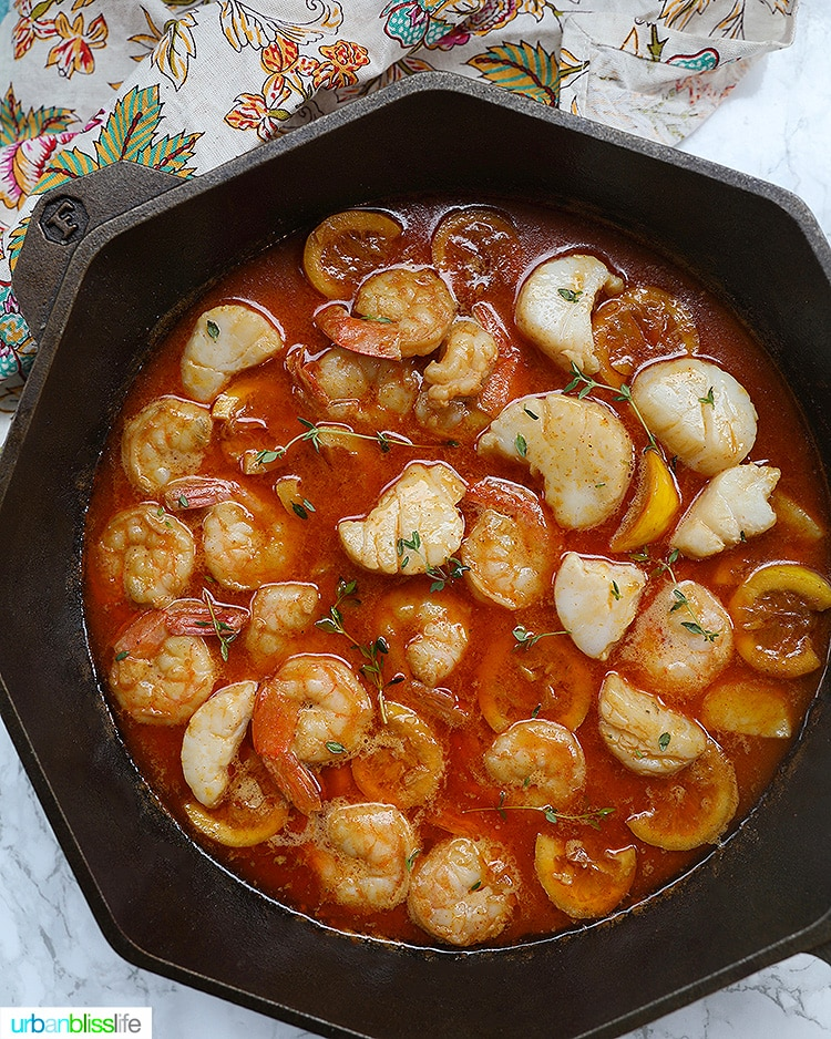 BBQ Lemon Shrimp and Scallops Scampi
