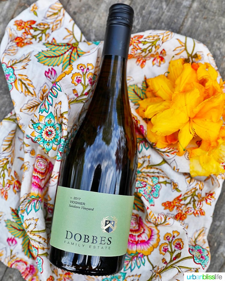 Dobbes winery viognier white wine bottle with flowers