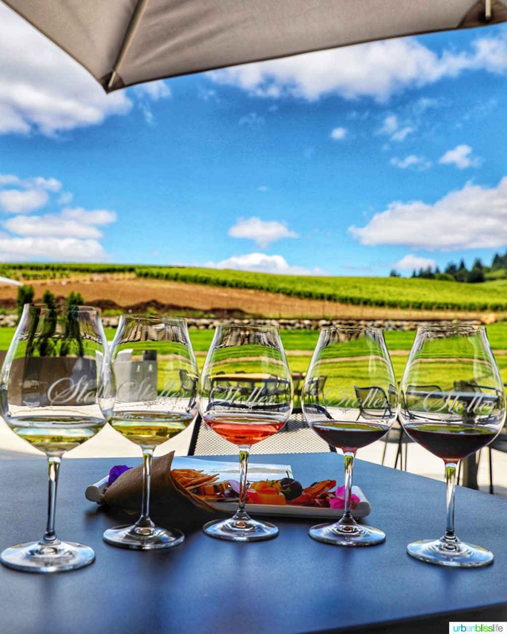 wine flight against a backdrop of vineyards at Stoller