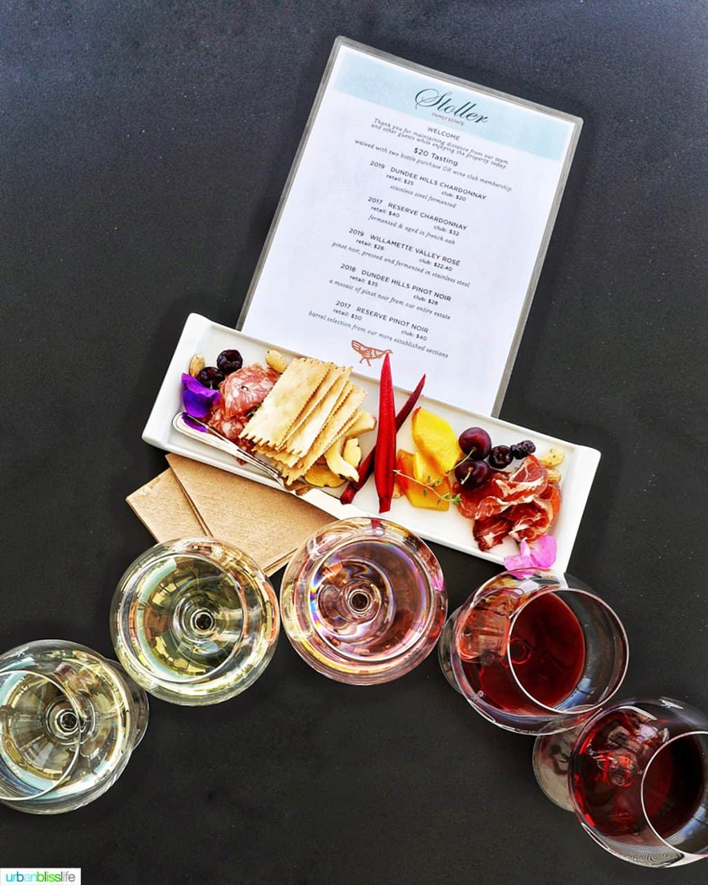 wine flight and charcuterie board at Stoller Winery