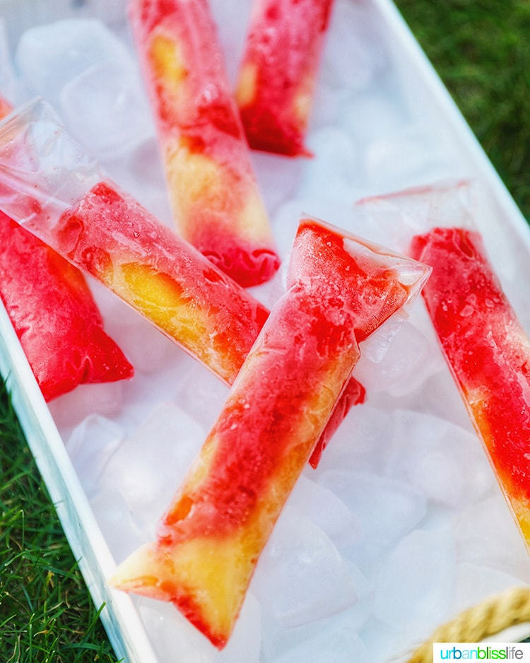 Tequila Sunset Pops on ice tray
