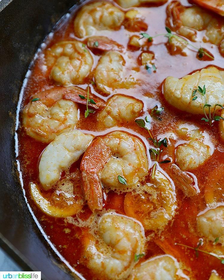 half pan of bbq shrimp