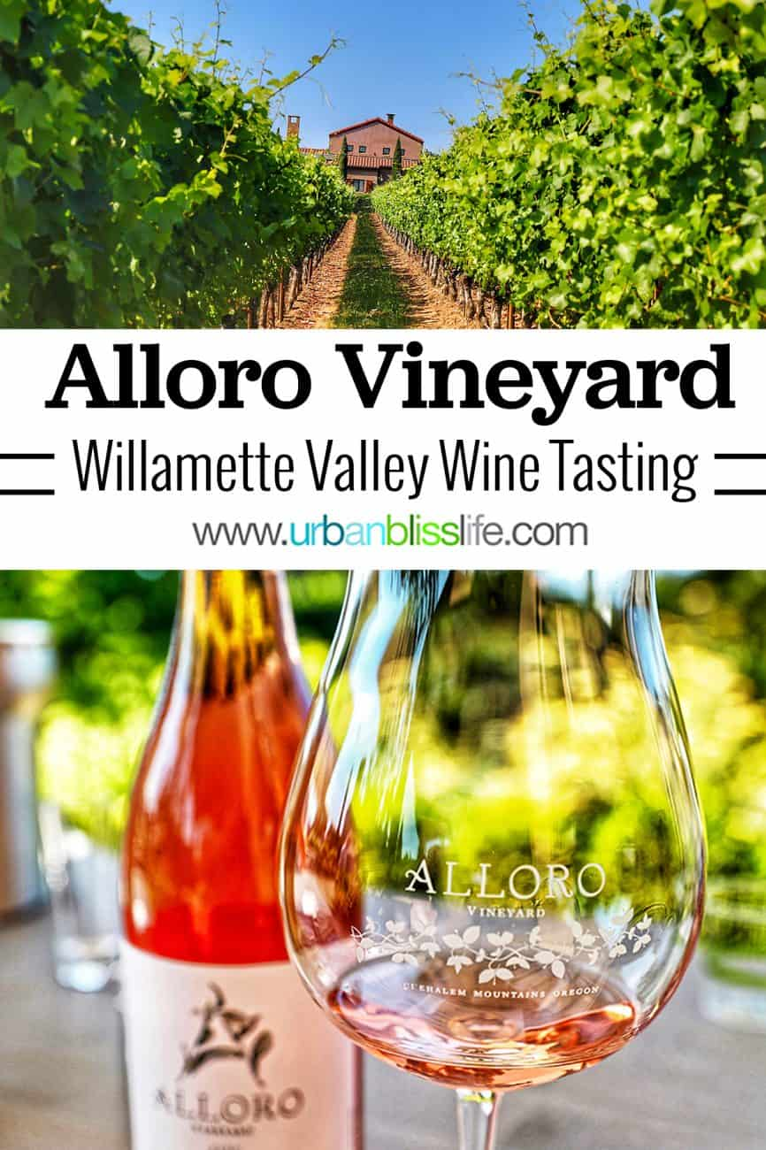 Alloro vineyard and rosé wine in glass with title text overlay
