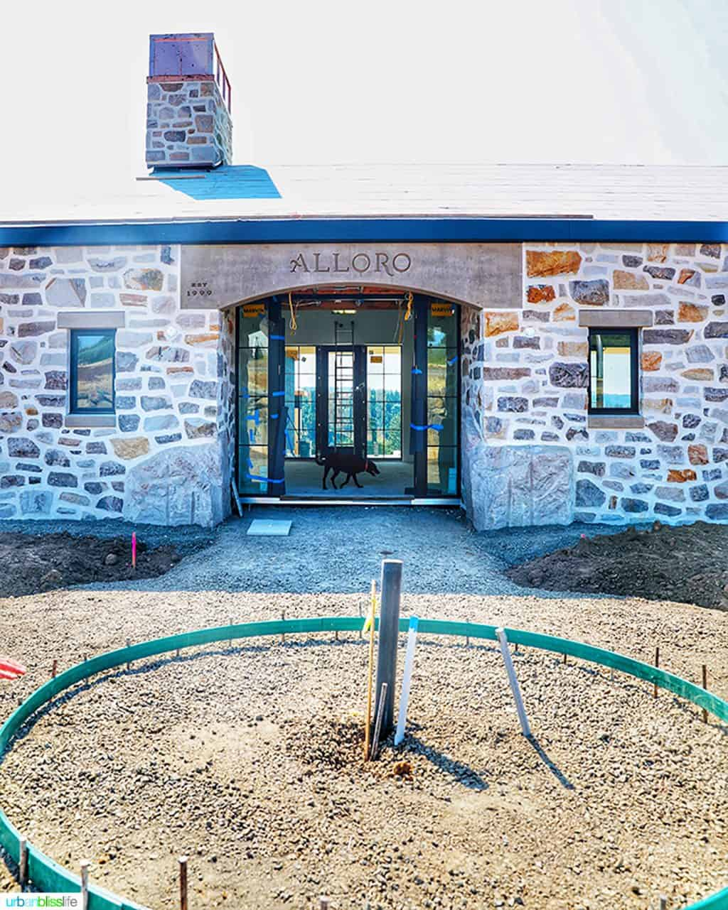front door of Alloro Vineyards new tasting house under construction