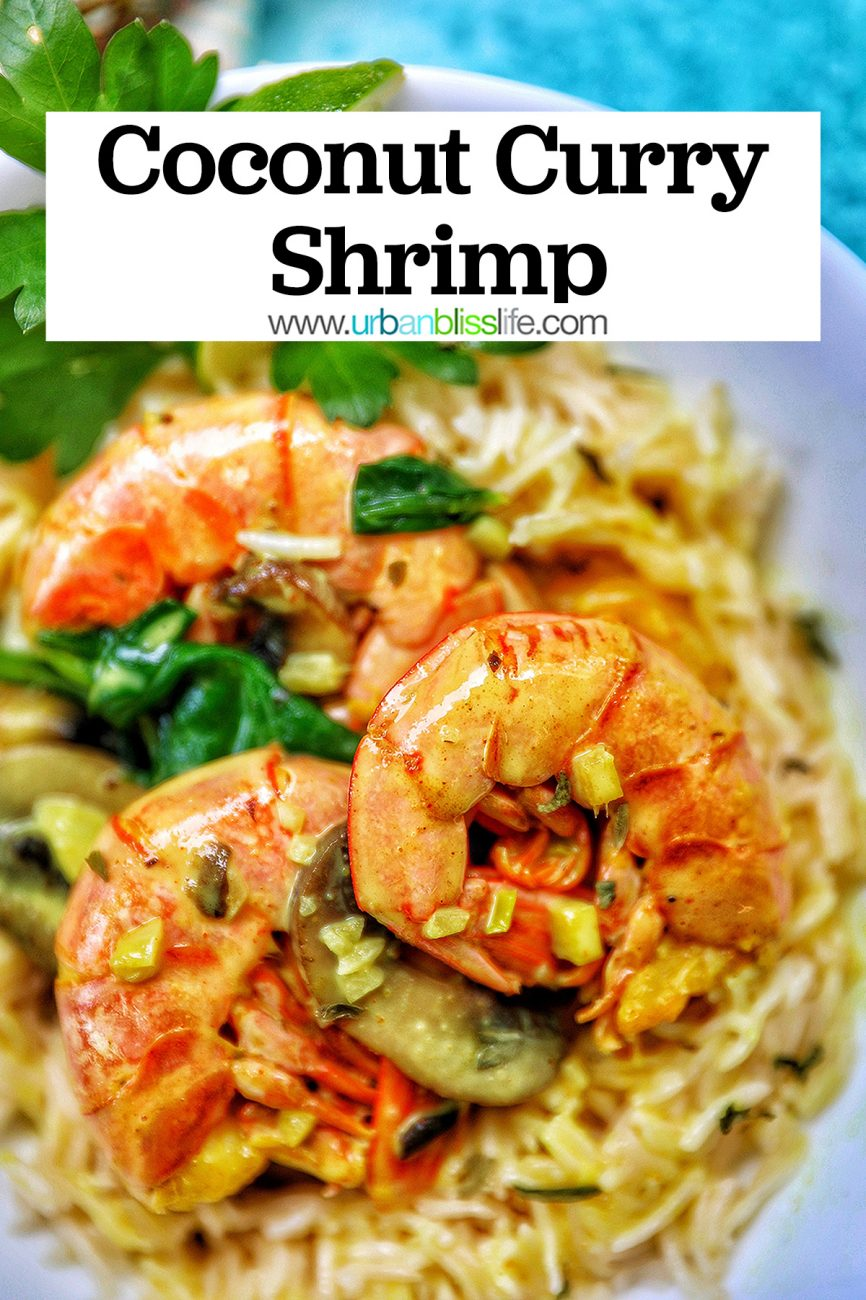 main graphic for Coconut Curry Shrimp and Mushrooms