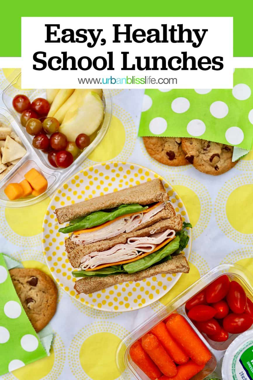 pinterest graphic for back to school lunches