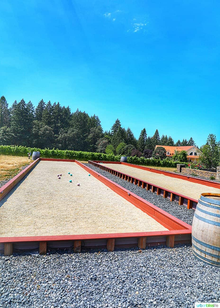 bocce ball courts at Utopia Vineyard