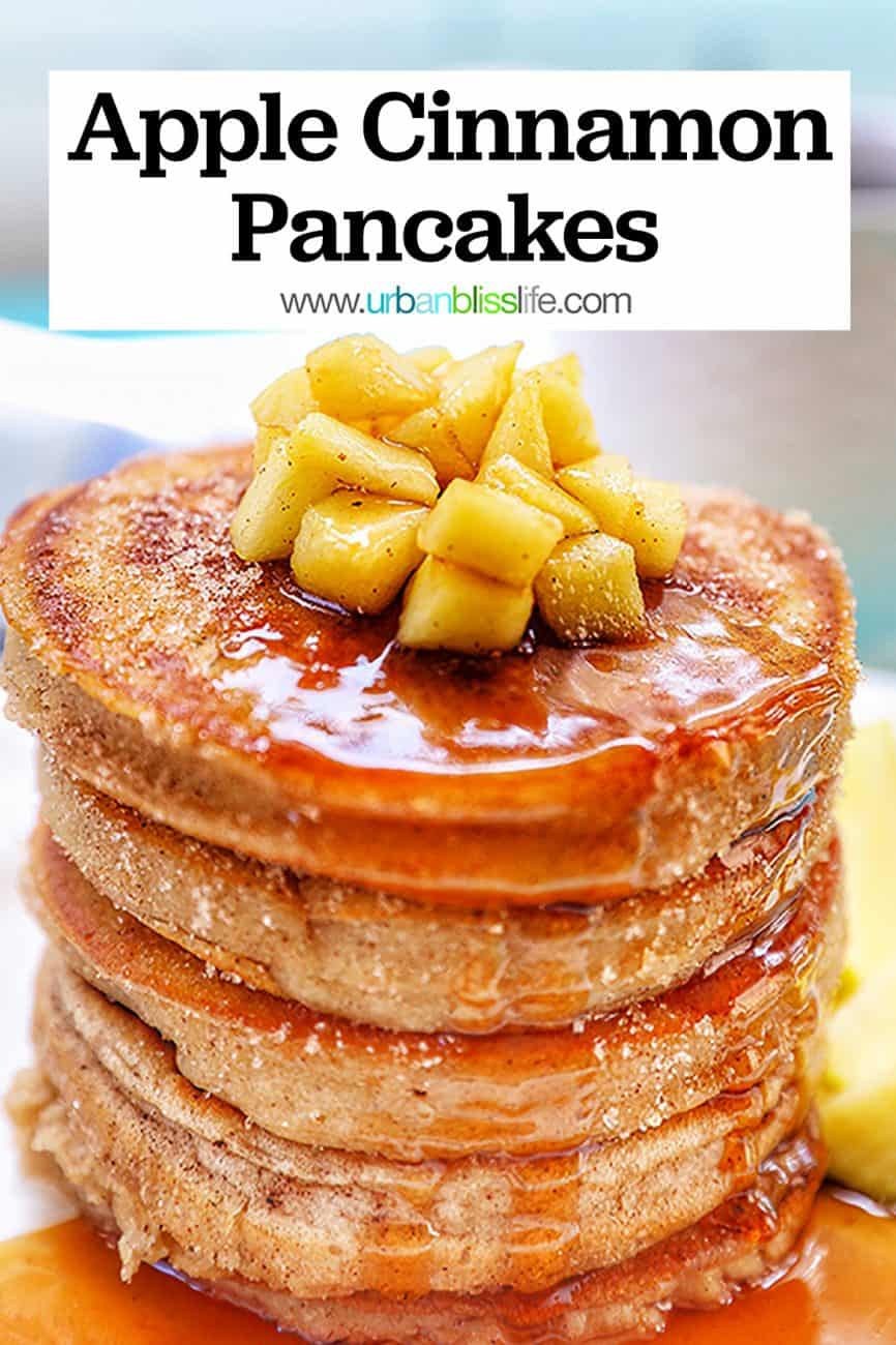 closeup of a stack of pple cinnamon pancakes with diced apples and title text overlay