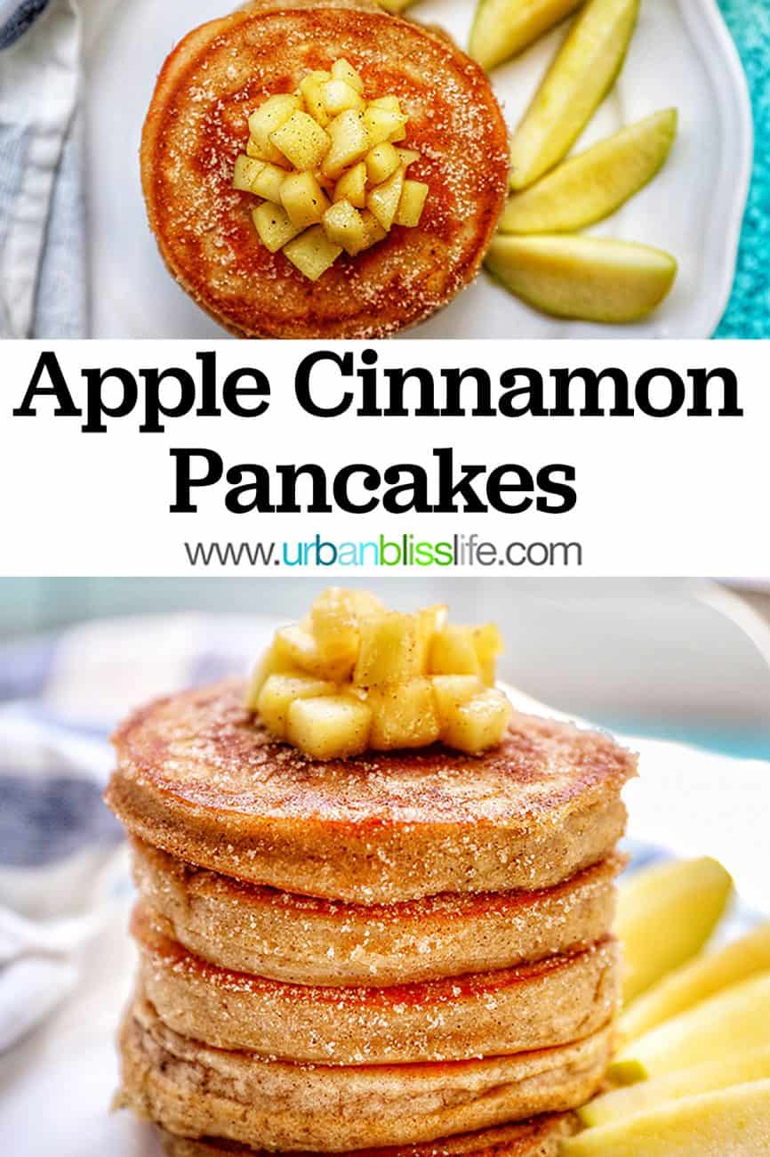 two pics of pple cinnamon pancakes with title text overlay