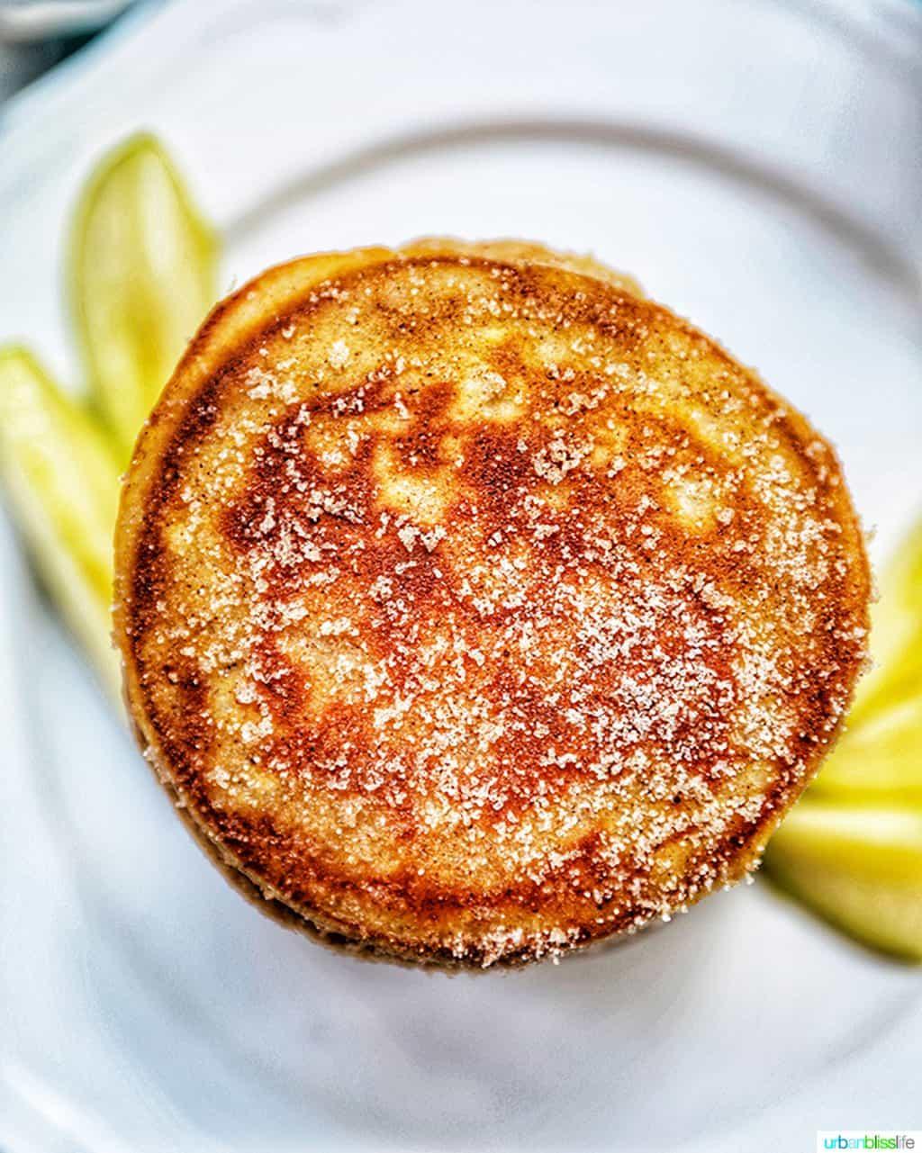 top of an pple cinnamon pancake