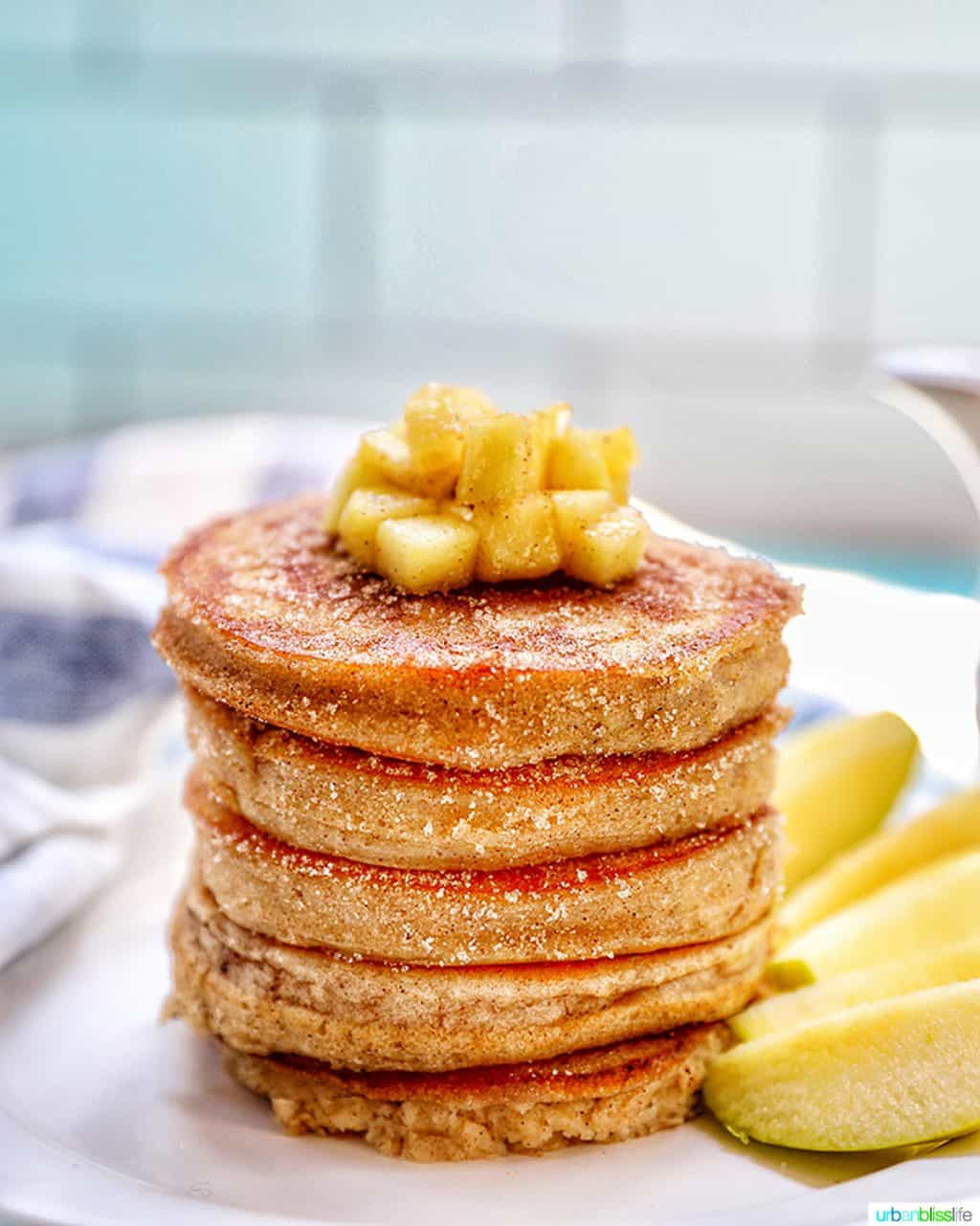stack of pple cinnamon pancakes without syrup