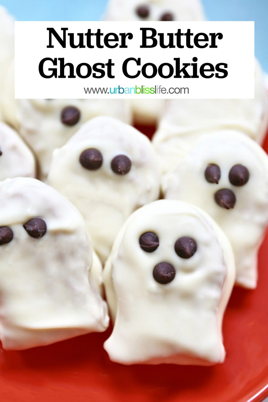 Nutter Butter Ghost Cookies with title text overlay