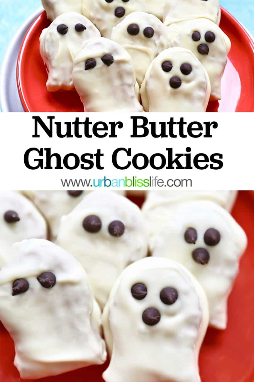 two photos of Nutter Butter Ghost Cookies with title text overlay