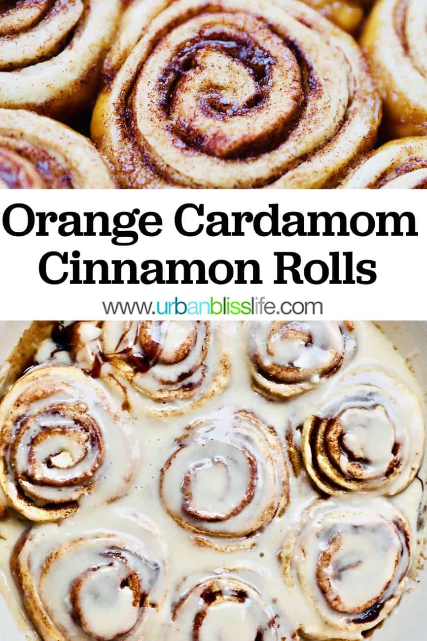 orange cinnamon rolls with title text