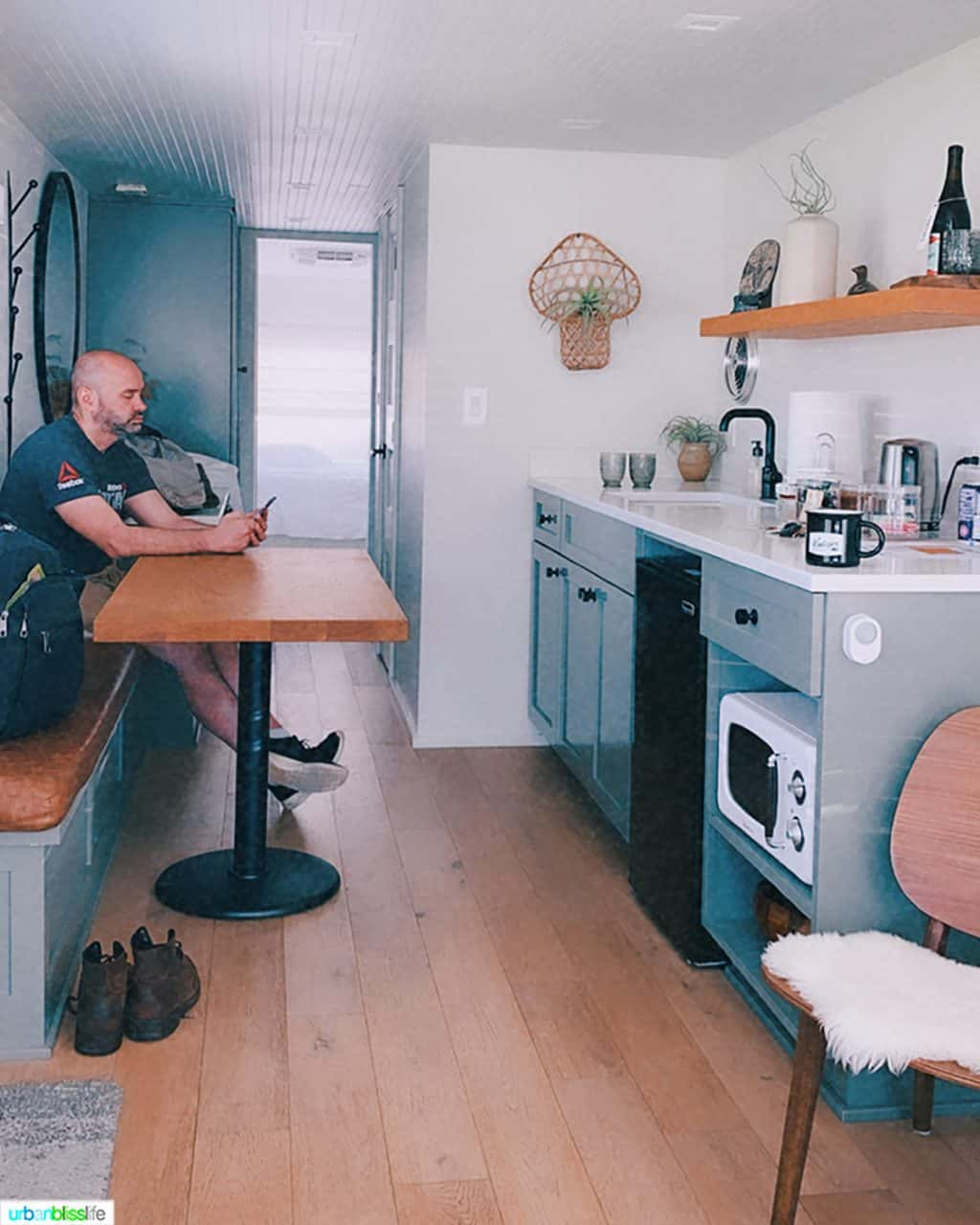 Alain Schotland inside the mansion airstream at Vintages Trailer Resort