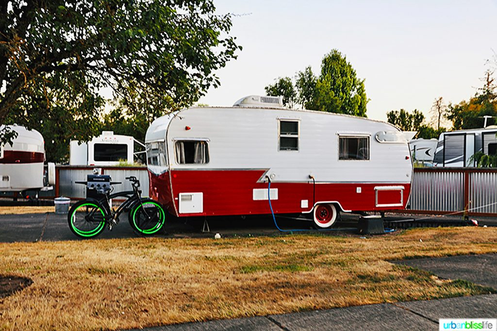 red and white vintage trailer