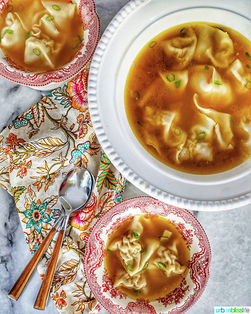 wonton noodle soup in bowls with spoons