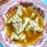 single bowl of wonton soup
