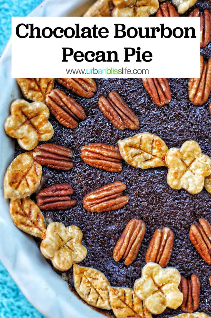 Chocolate Bourbon Pecan Pie with title text