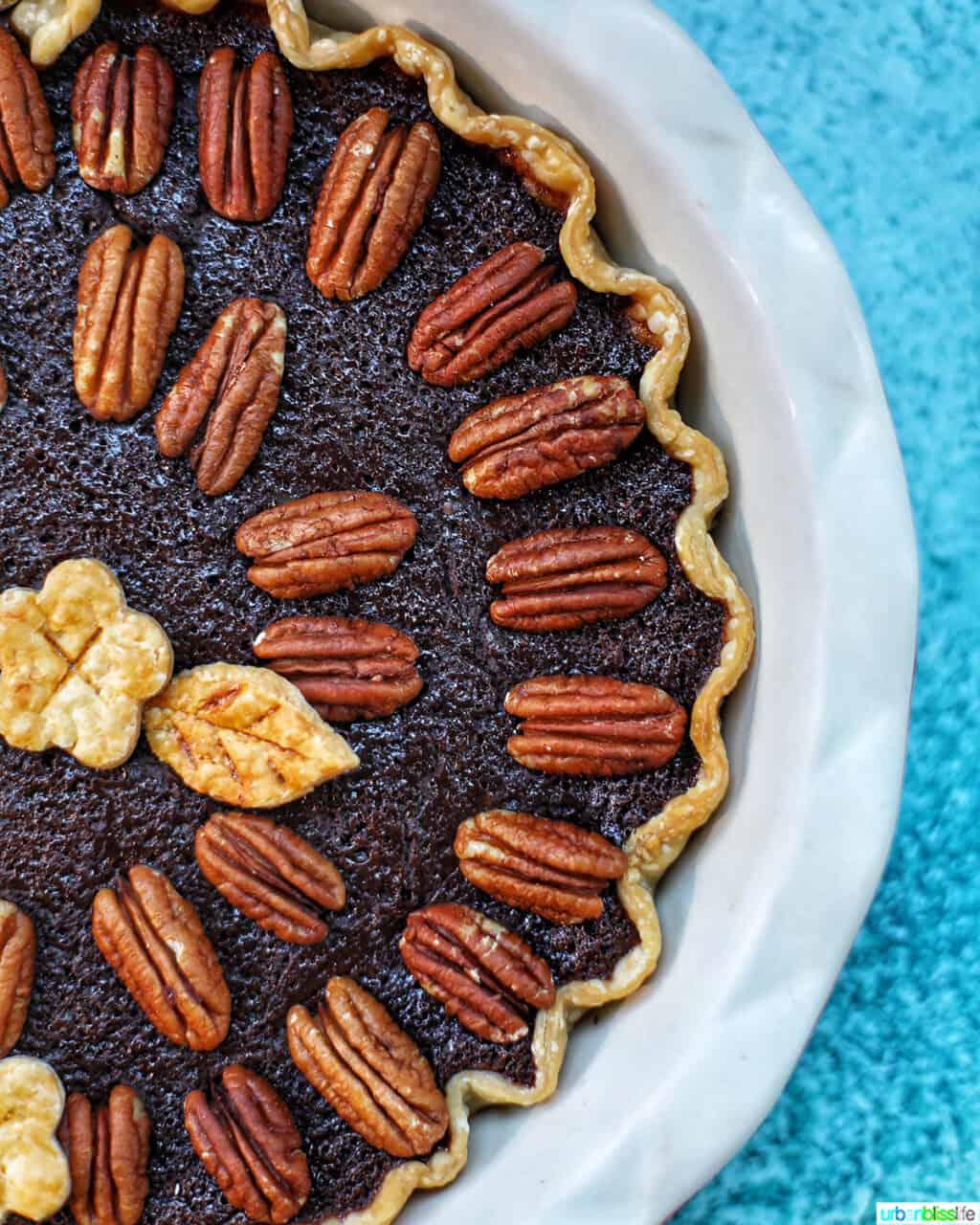 right half ogf Chocolate Bourbon Pecan Pie