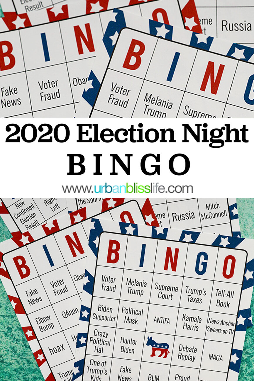 2020 election bingo with title text overlay