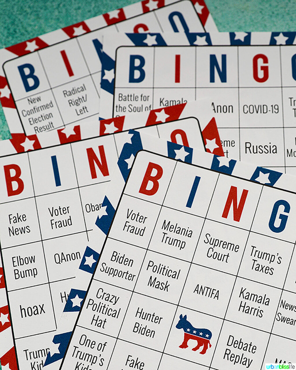 election night bingo cards close up