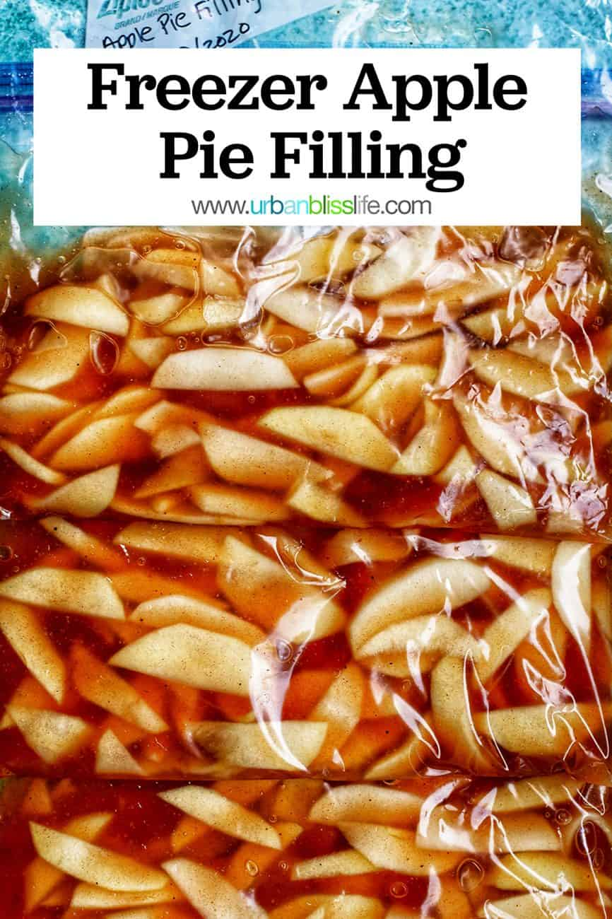 freezer apple pie filling in ziplock bags with title text
