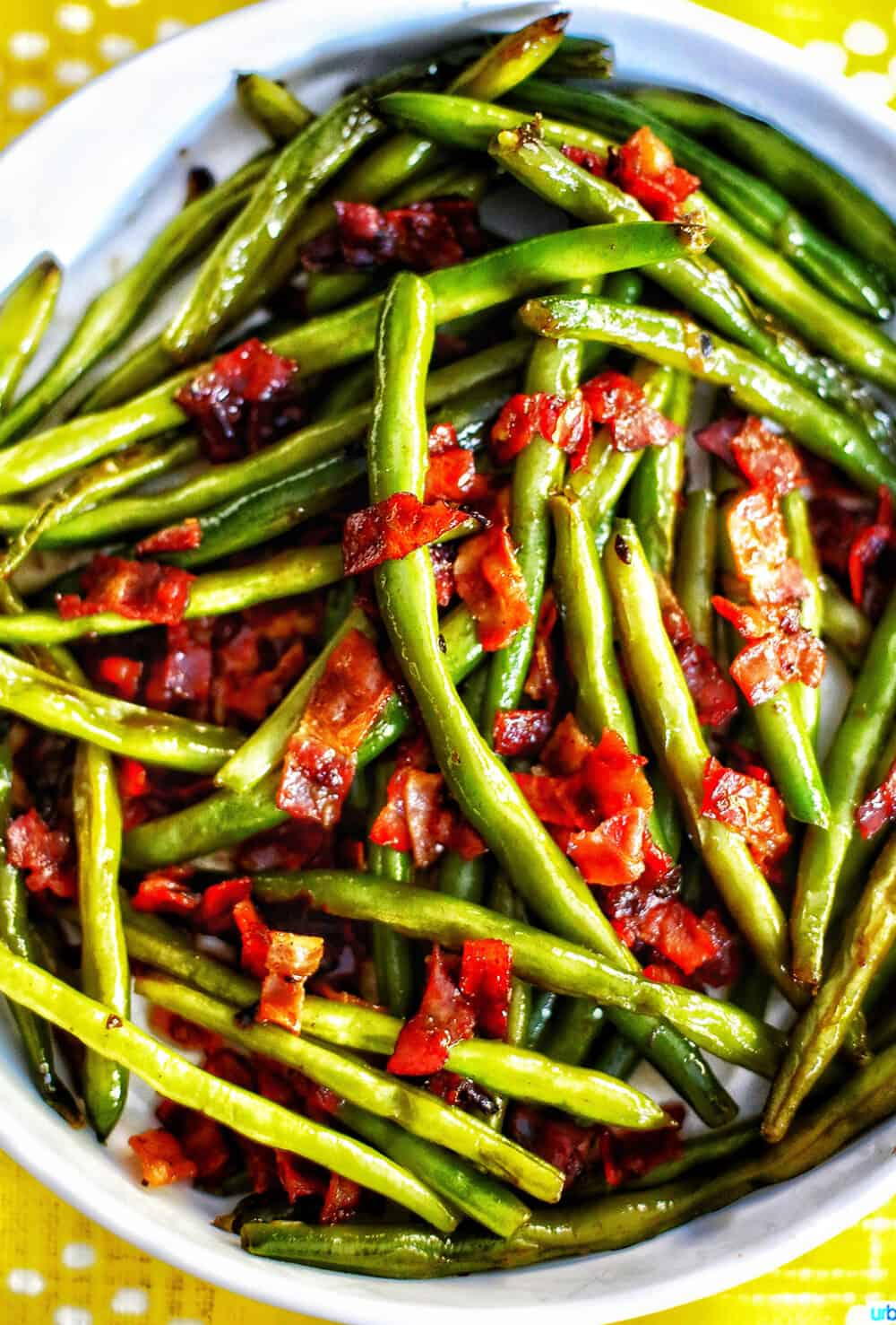big bowl of green beans with bacon