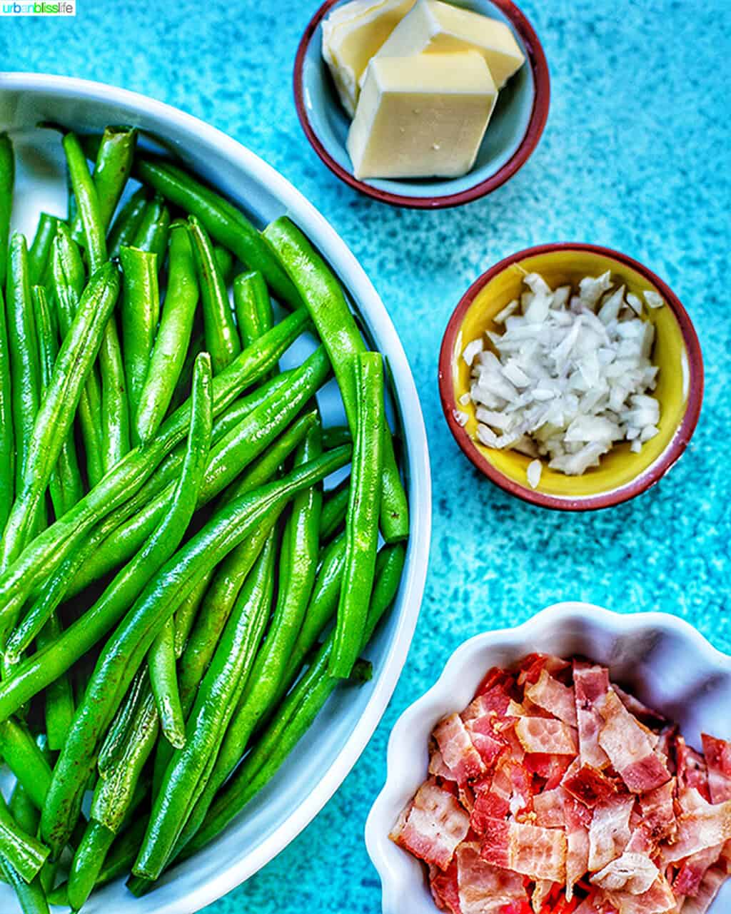 bowl of green beans, butter, shallots, bacon
