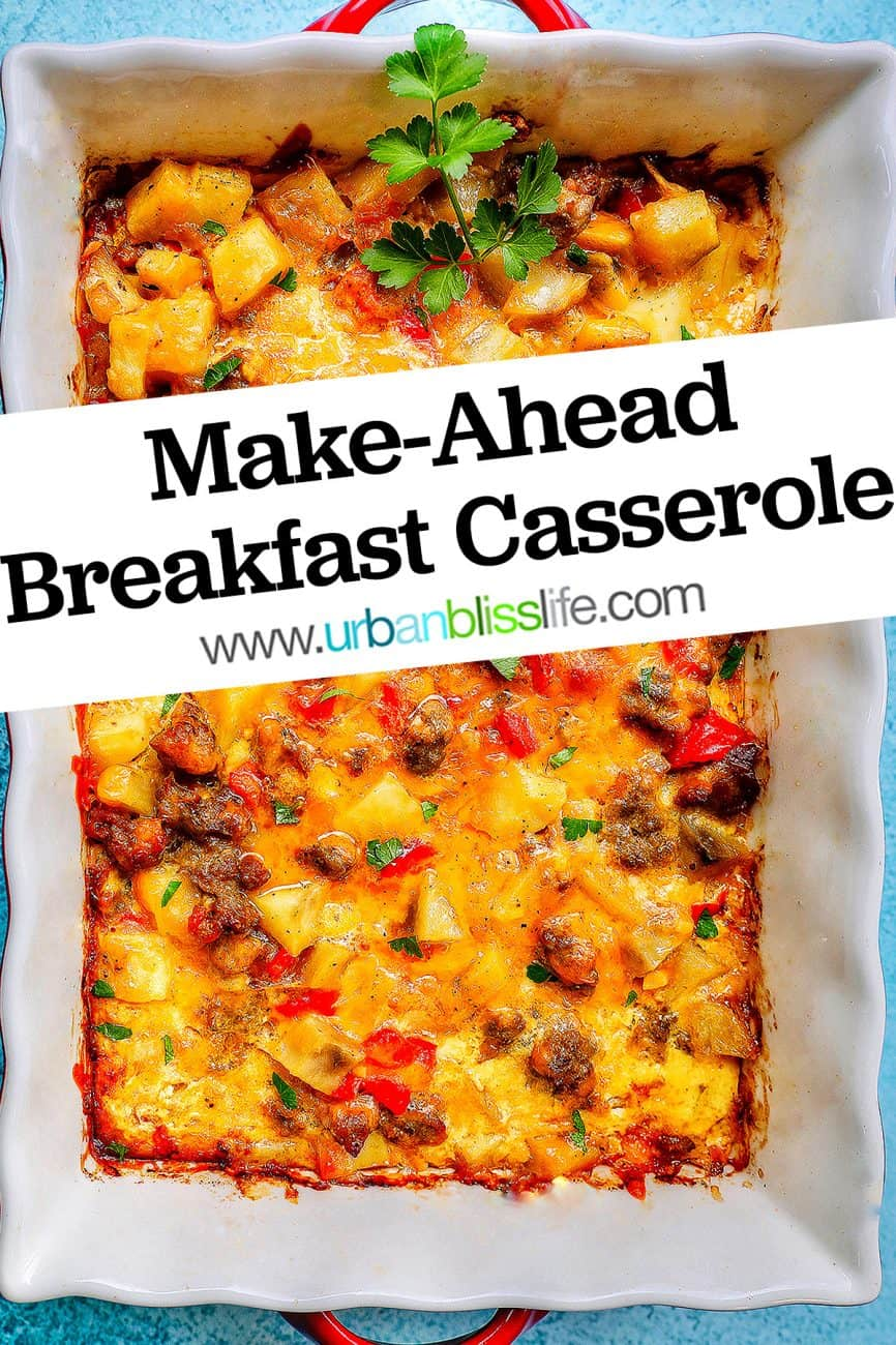 pan of cheesy breakfast casserole with title text overlay