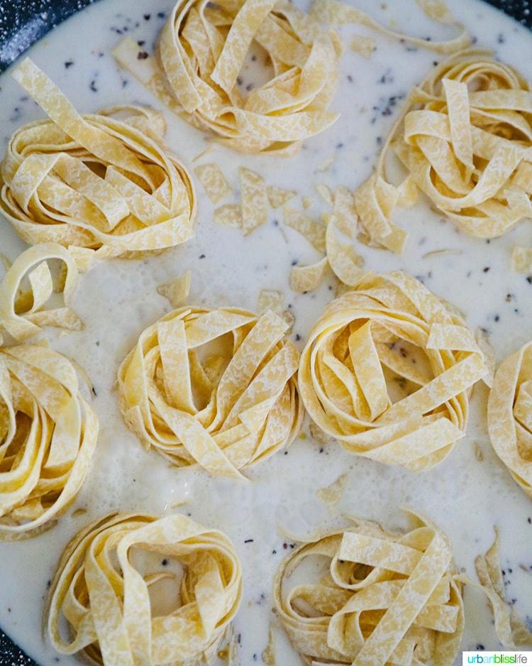pasta in pan sauce