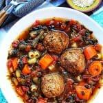 closeup on bowl of meatball soup