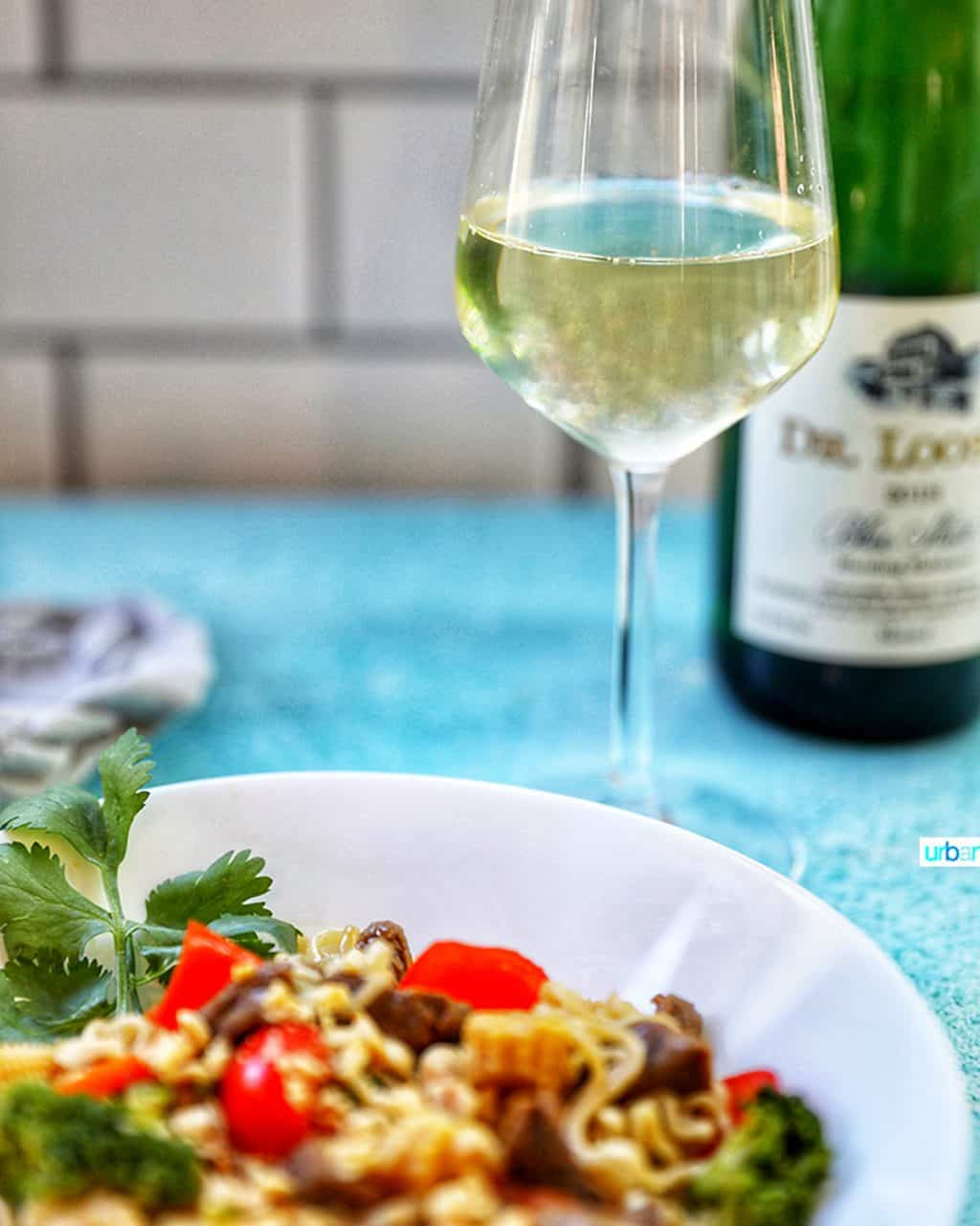 Dr Loosen riesling with beef lo mein