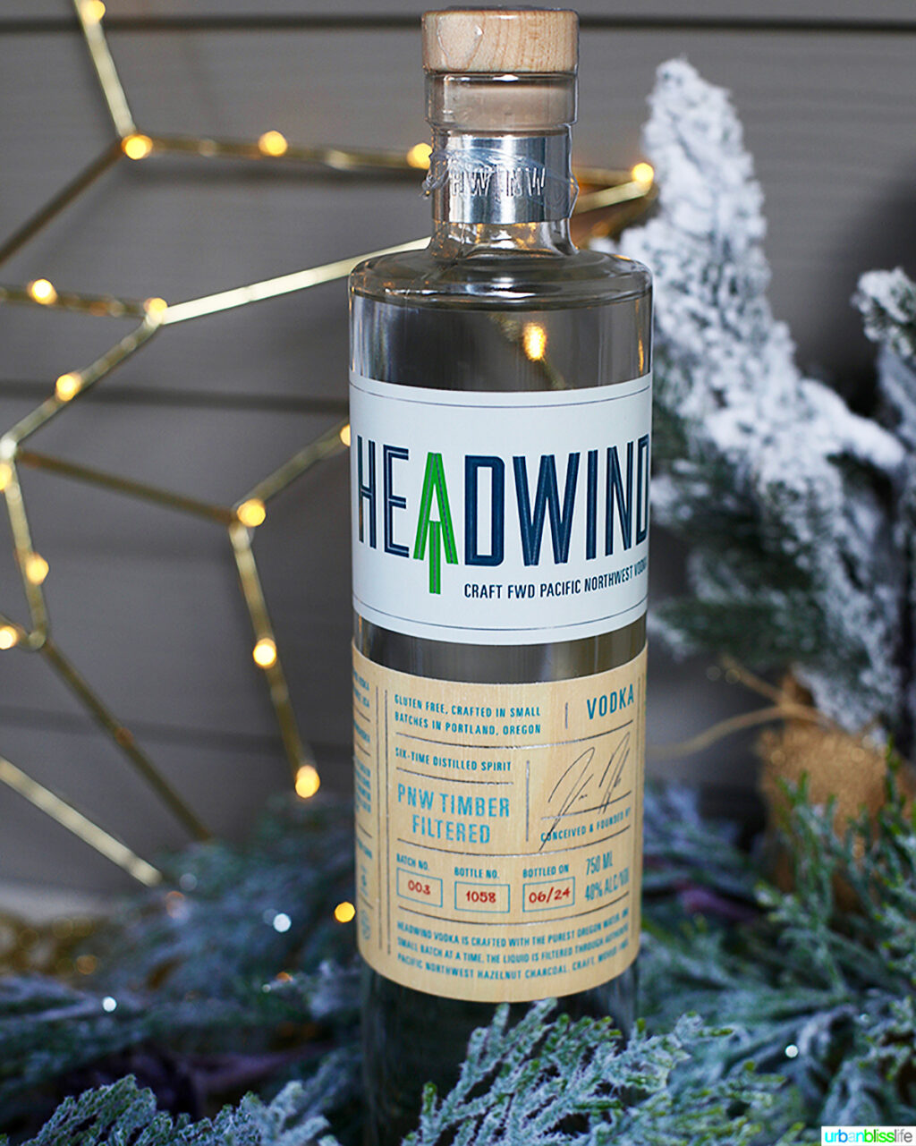 bottle of Headwind Vodka in holiday setting