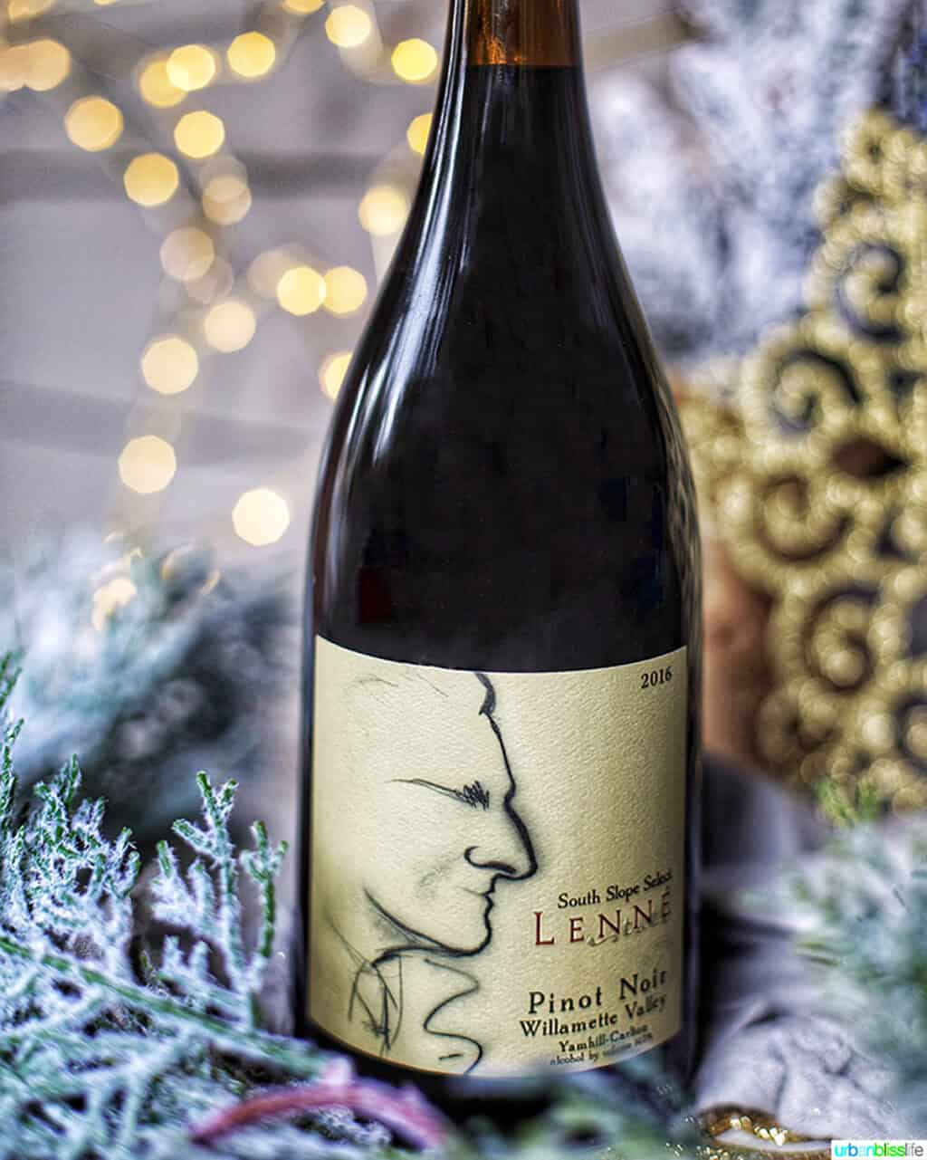 Lenne Estate Pinot Noir wine bottle in holiday setting