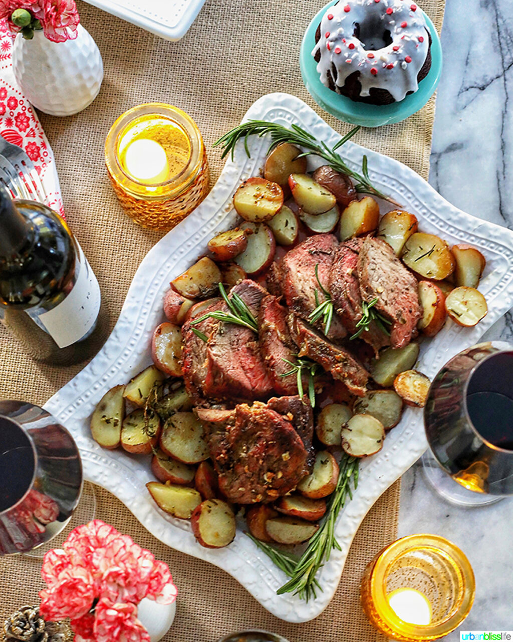sirloin tip roast with glasses of wine