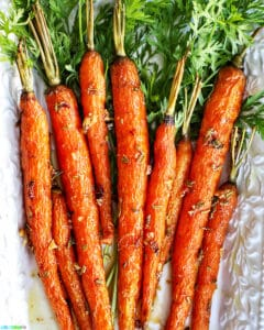 plate of garlic rosemary roasted glazed carrots