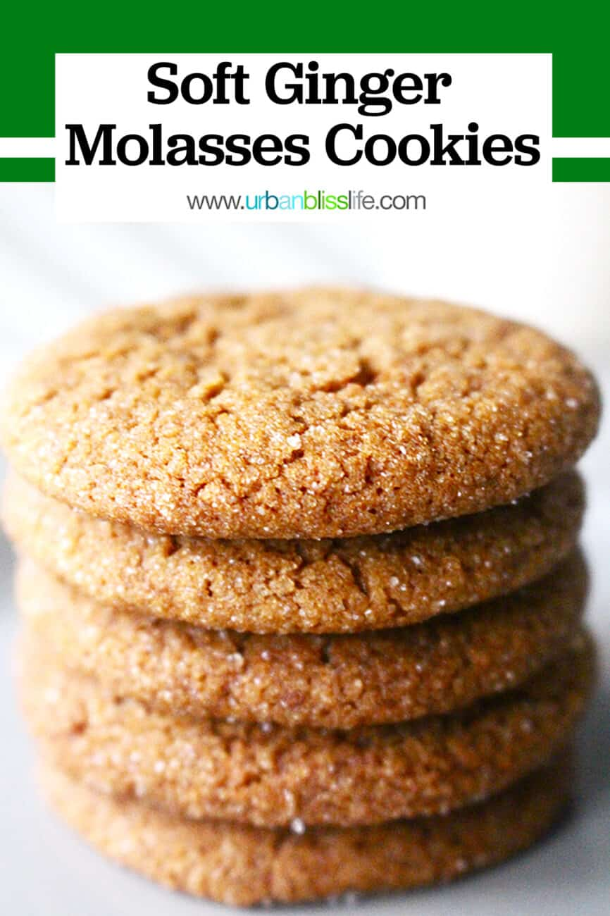 soft ginger molasses cookies stacked up