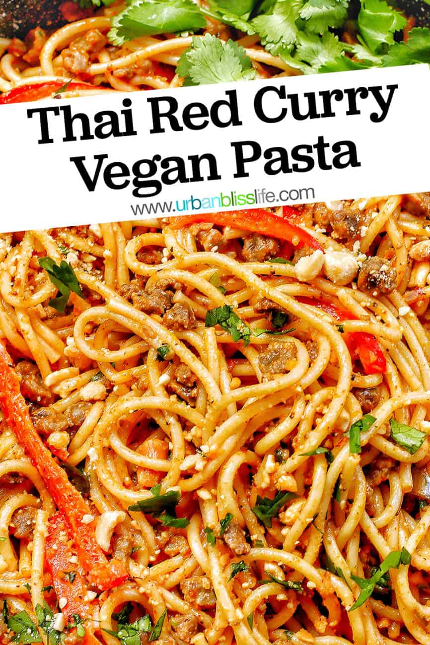 closeup of Thai Red Curry Pasta with title text