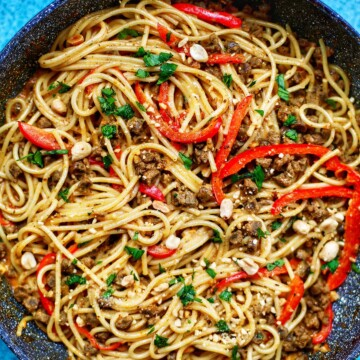full skillet of vegan Thai Red Curry Pasta