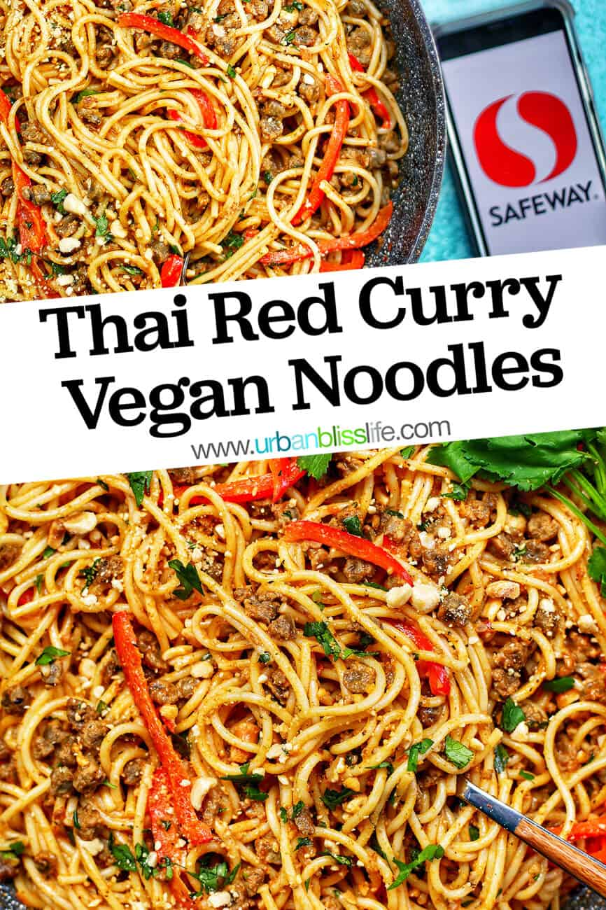 Thai Red Curry Vegan Pasta with safeway logo and title text angled