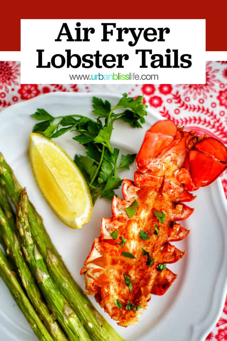 Air Fryer Lobster Tails with asparagus, wine, and title text