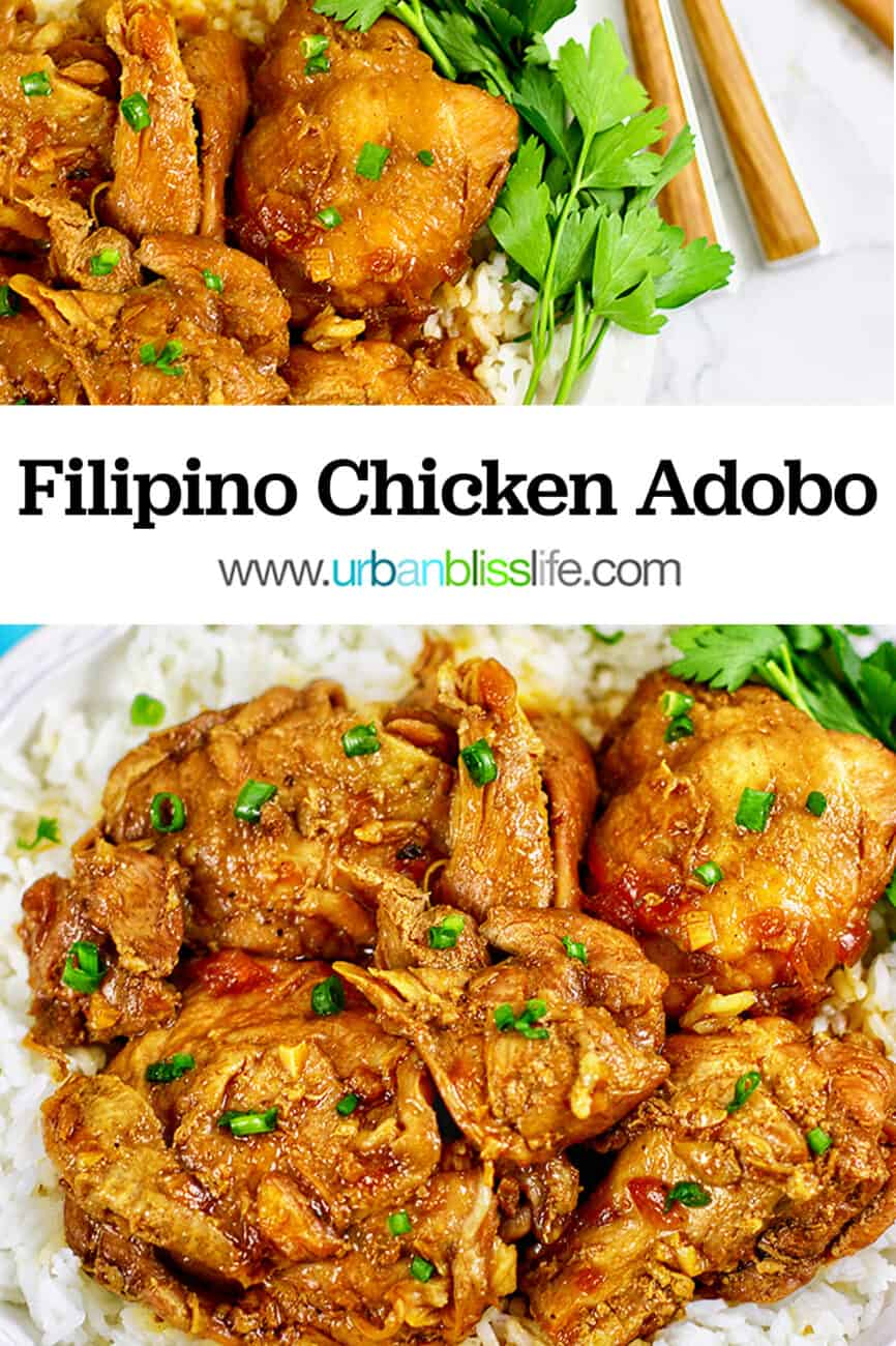 two photos of Instant Pot Filipino chicken adobo with title text