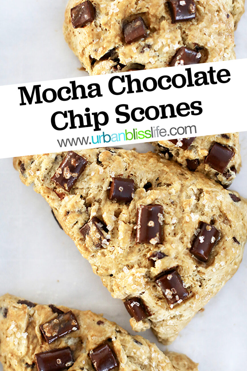 mocha chocolate chip scones with title text